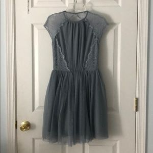 Gray lace open back tulle dress